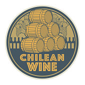 Vintage wine label or stamp, text Chilean Wine, vector illustration