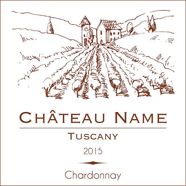 Vintage wine label with a hand drawn rural landscape vector art illustration