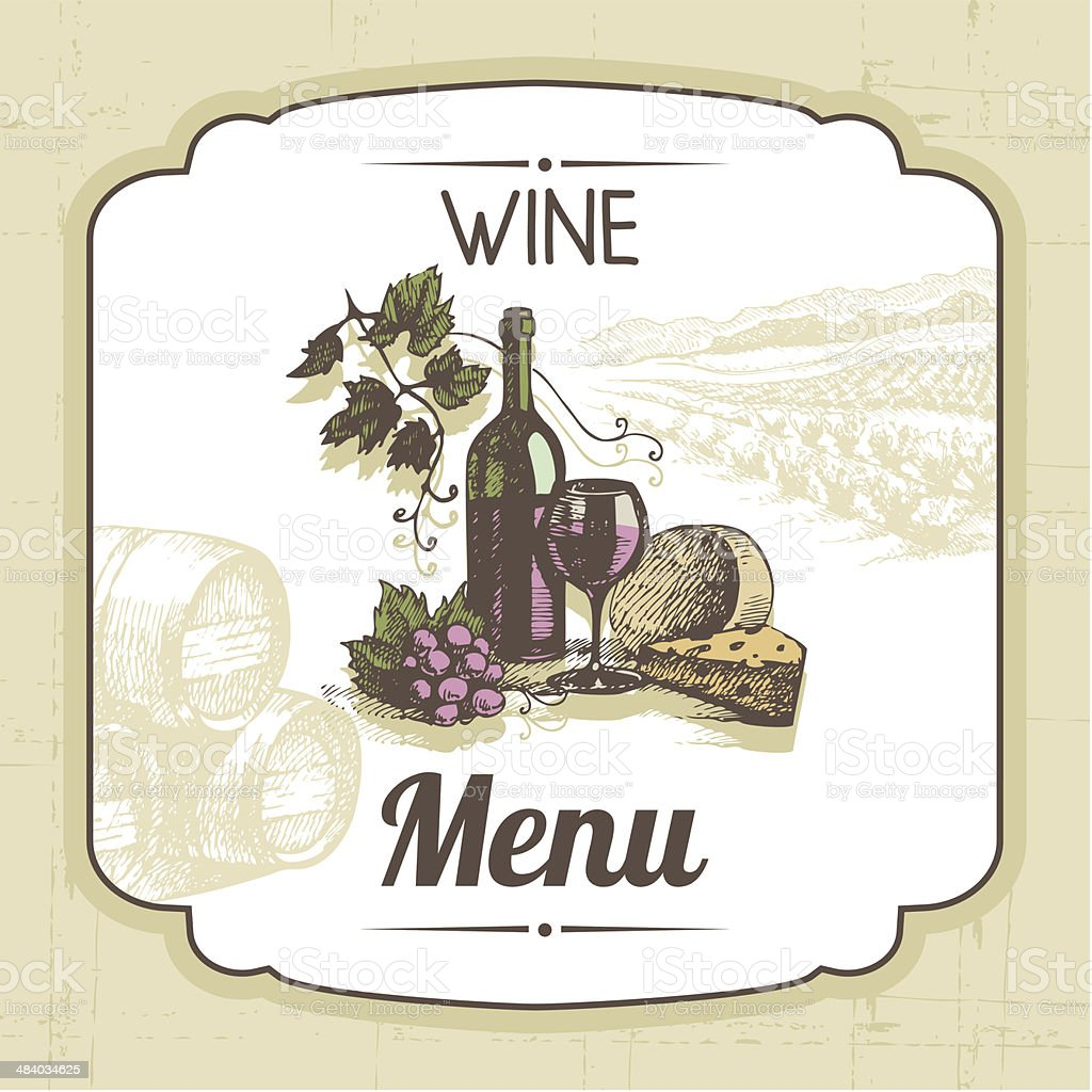 Vintage wine menu background vector art illustration