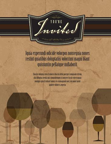 Vintage wine tasting invitation template design aged paper