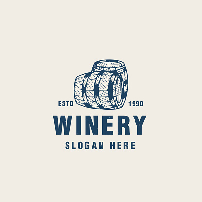 Vintage winery logo template suitable for bar