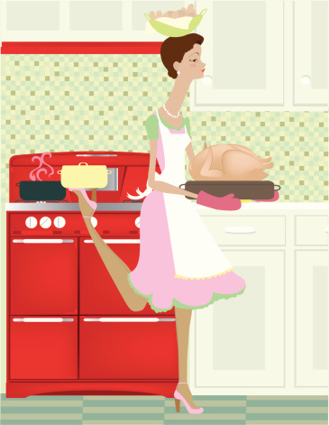 Vintage Woman Balancing Food