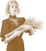 Sepia Etching illustration of a vintage woman holding wheat bundle. Antique dress.