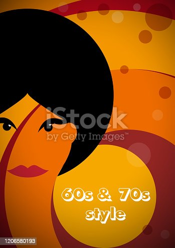 Vintage woman on background with circles. Design template for brochure, flyer or depliant for business purposes. Vector illustration in retro style