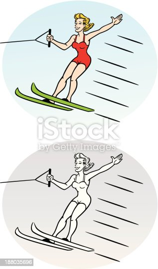 Great illustration of a woman on water skis. Perfect for a summer or holiday illustration. EPS and JPEG files included. Be sure to view my other illustrations, thanks!
