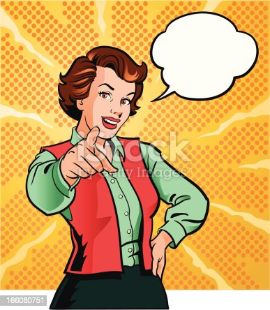 Illustration of a retro style beautiful woman pointing finger. The woman and speech bubble are placed on separate layers for easy editing. High resolution JPG and Illustrator 0.8 EPS included.