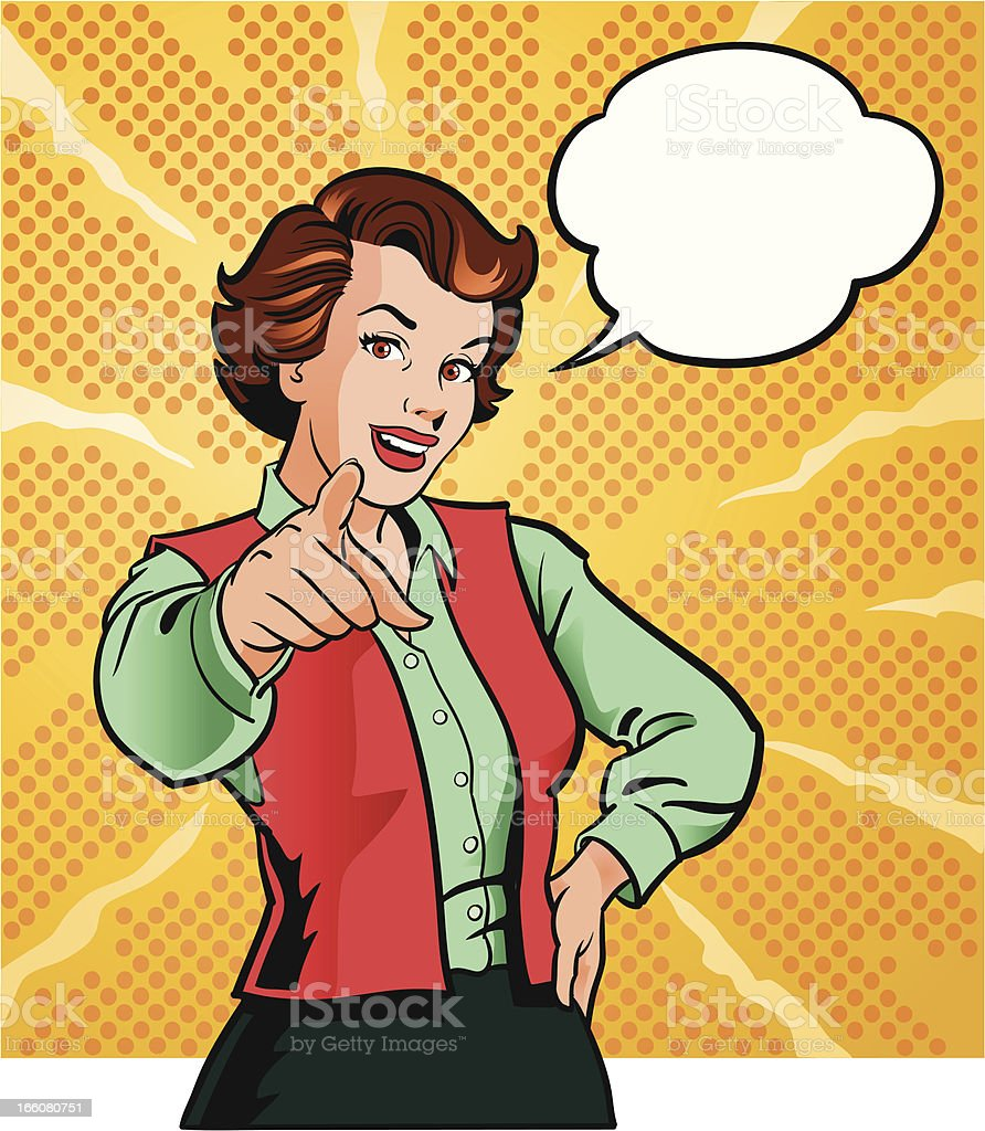 Vintage Woman Pointing at You vector art illustration