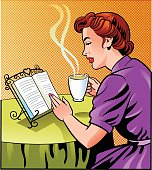 Old fashioned retro style woman relaxing over a good book and a cup of coffee. Image of a woman placed on separate layer for easy editing. High resolution JPG and Illustrator 8 EPS included.