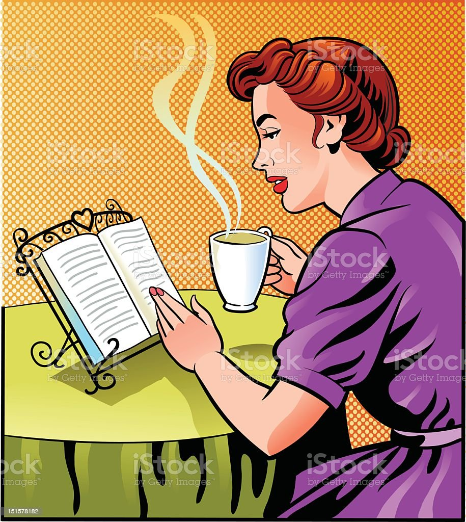 Vintage Woman Reading Book and Holding Cup of Coffee vector art illustration