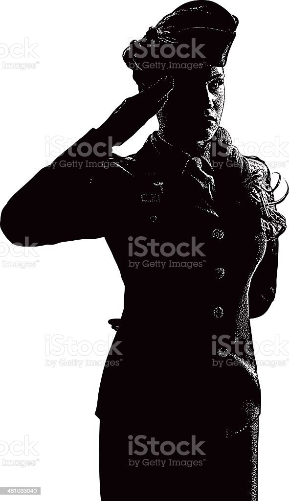 Vintage Woman Soldier Saluting vector art illustration