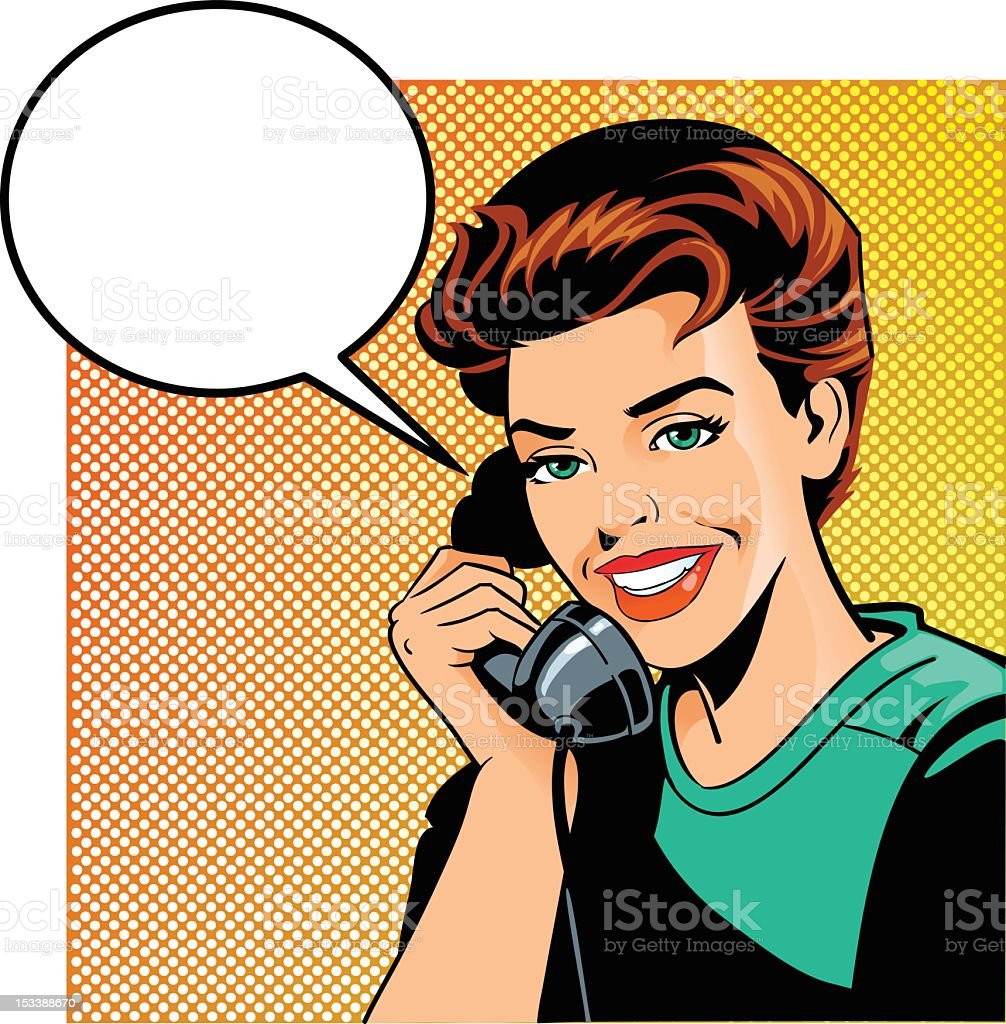 Vintage Woman Talking on the Phone royalty-free stock vector art