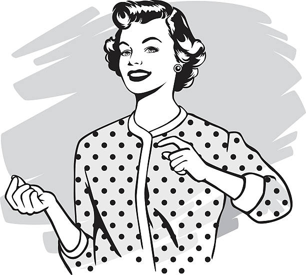 vintage frau - hausfrau stock-grafiken, -clipart, -cartoons und -symbole