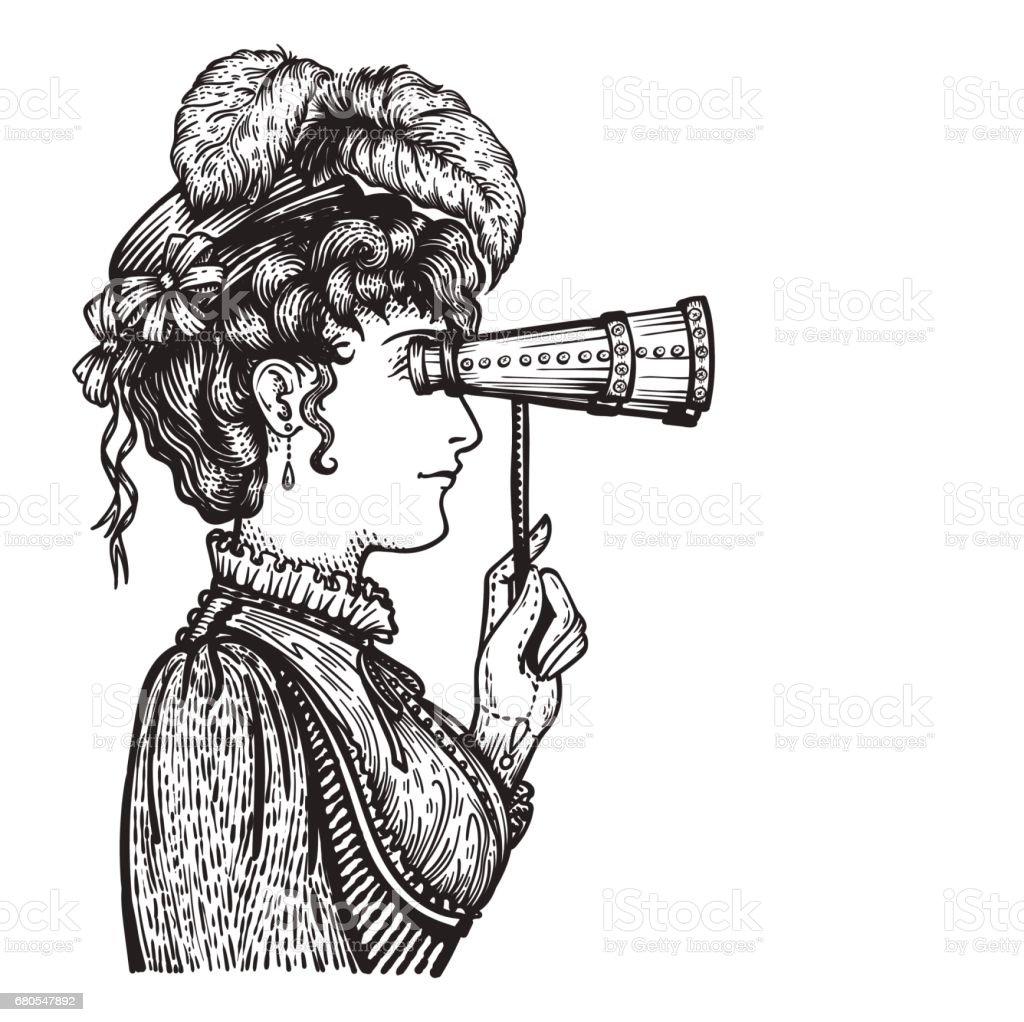 Vintage woman with binocular vector art illustration