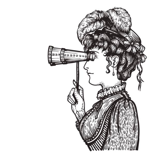 Vintage woman with binocular vector art illustration