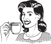A vintage styled woman holding a mug of coffee.