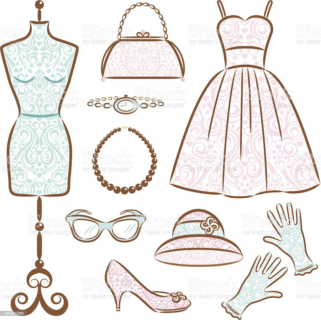 Vintage mujer de ropa - ilustración de arte vectorial