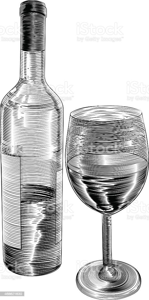 Vintage Woodcut Wine Bottle And Glass Royalty Free Stock