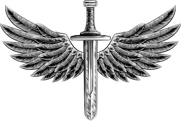 vintage woodcut winged sword - swords tattoos stock illustrations, clip art, cartoons, & icons