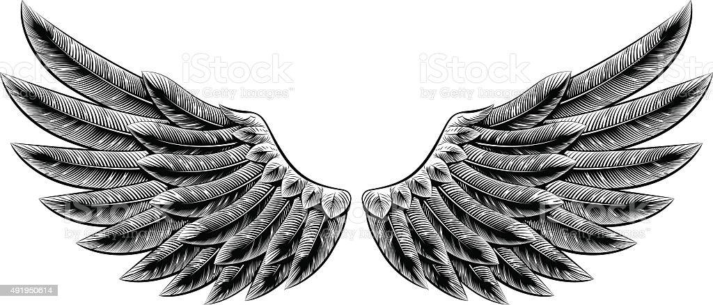 Vintage woodcut wings vector art illustration