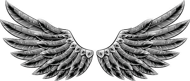 vintage woodcut wings - angels tattoos stock illustrations, clip art, cartoons, & icons