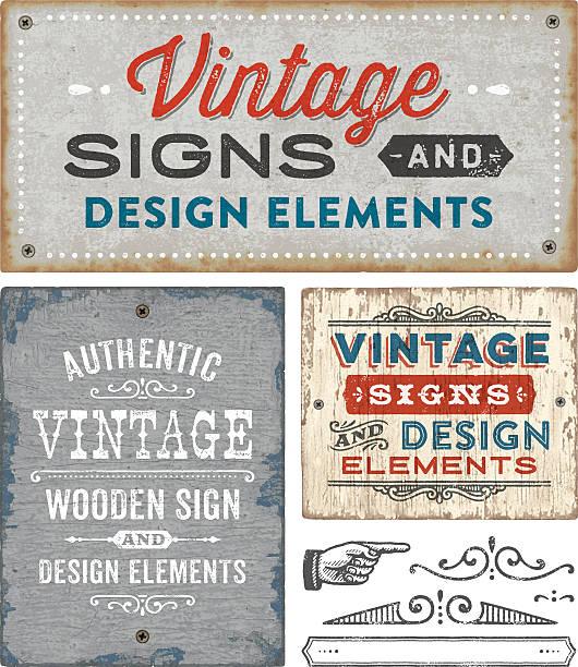 ilustraciones, imágenes clip art, dibujos animados e iconos de stock de vintage signos de madera y metal - textura de madera