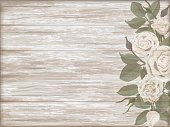 Vintage wooden background white rose bud