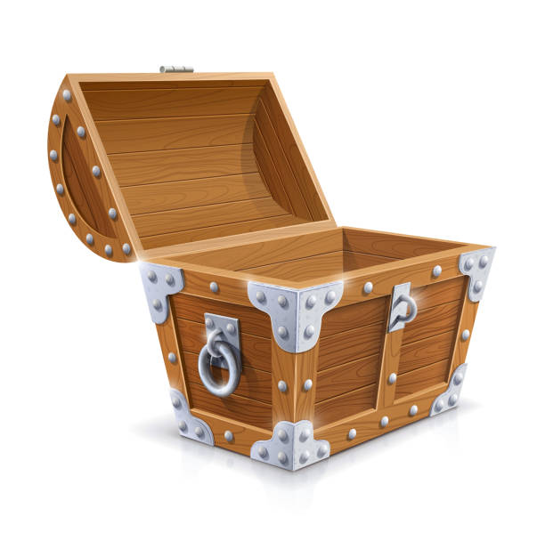 vintage wooden chest with open lid Vintage wooden chest with open lid isolated on white background . Transparent objects and opacity masks used for shadows and lights drawing. Vector illustration. antiquities stock illustrations