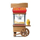 Vintage wooden machine for making popcorn