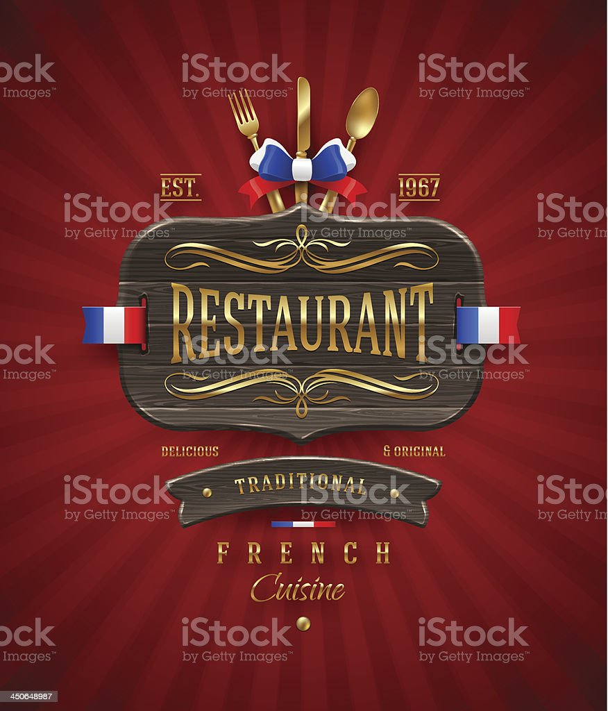 Vintage wooden sign of French restaurant royalty-free stock vector art