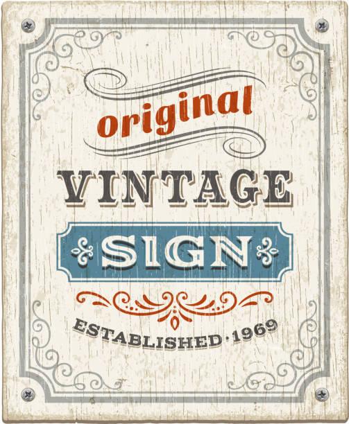 vintage wooden sign - rustik stock illustrations