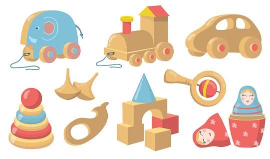 Vintage wooden toys flat item set