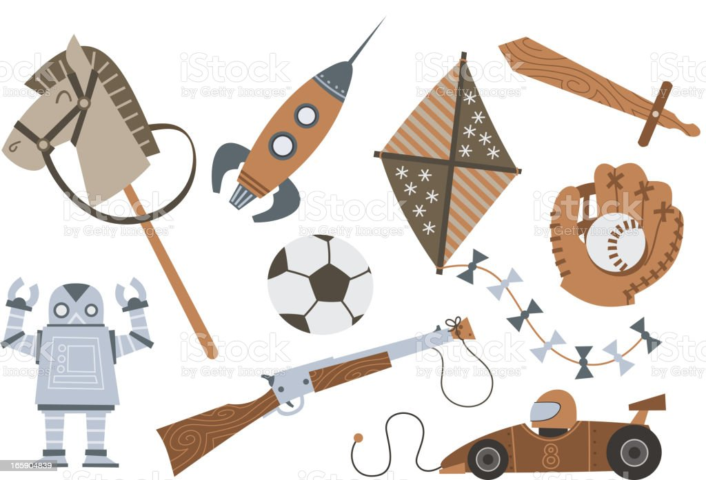 Vintage Wooden Toys Horse Rocket Kite Sword Shotgun Robot Car royalty-free stock vector art