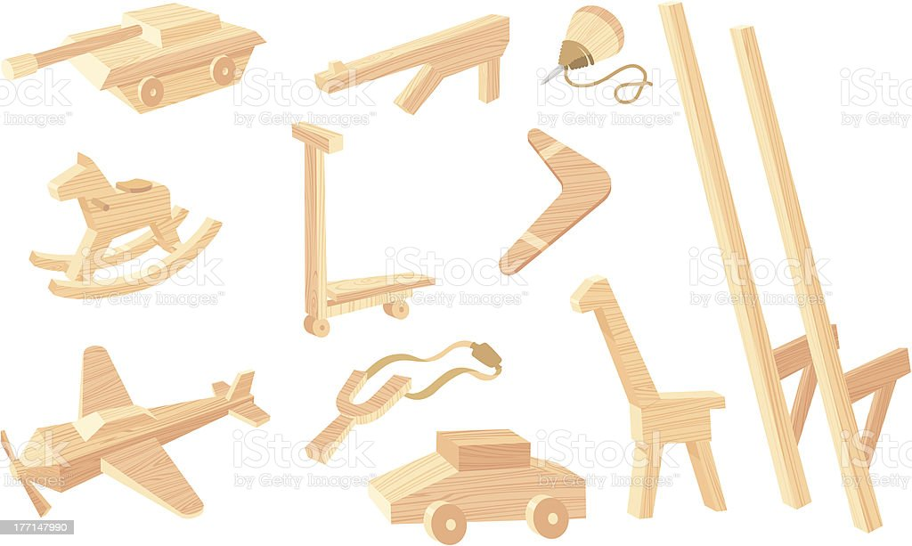 Vintage Wooden Toys royalty-free stock vector art