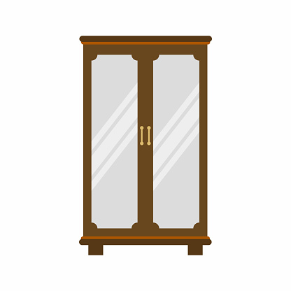 Vintage wooden wardrobe with mirror and gold handle isolated on white background. Classic furniture for bedroom decoration in cartoon flat style. Room interior design element. Vector illustration
