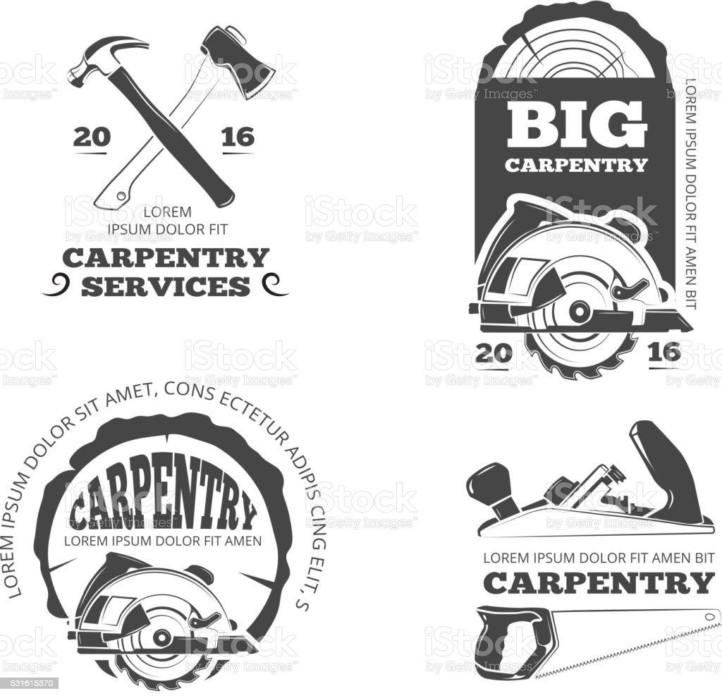 Vintage carpintería, aserradero vectores etiquetas, emblemas y juego de tarjetas - ilustración de arte vectorial