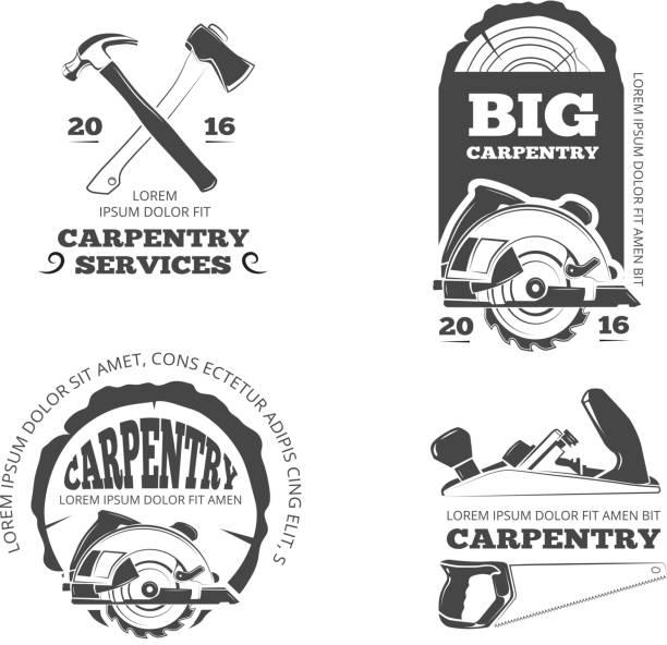 Vintage en bois, de scierie vecteur étiquettes, emblèmes et insignes ensemble - Illustration vectorielle