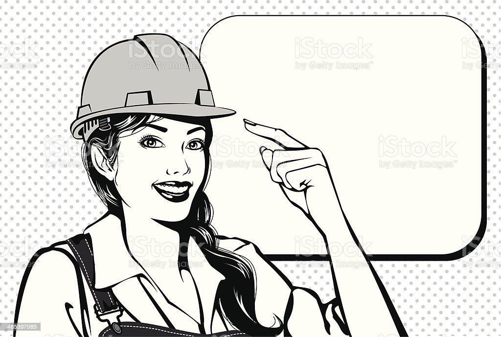 Vintage working woman vector art illustration