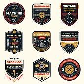 Set of retro vintage workshop badges and label graphics.