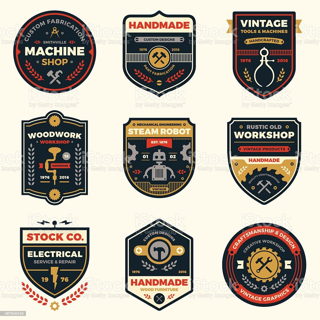 Vintage workshop badges vector art illustration
