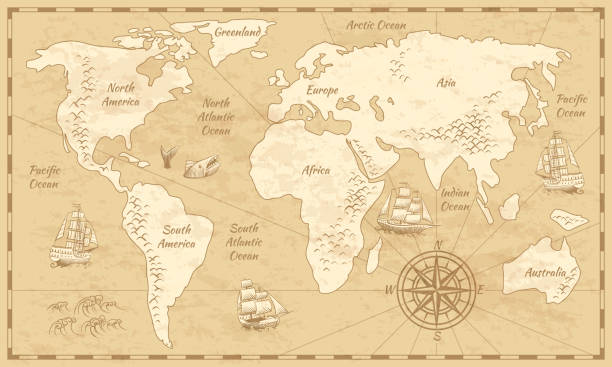 Vintage world map. Ancient world antiquity paper map with continents ocean sea old sailing vector globe background Vintage world map. Ancient world antiquity paper map with continents ocean sea old sailing vector background ancient stock illustrations
