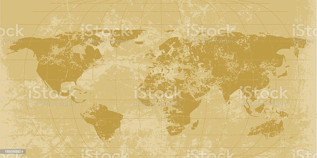 Mapa del mundo Vintage ilustración de mapa del mundo vintage y más banco de imágenes de anticuado libre de derechos