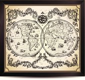Vintage World Map in wood frame.