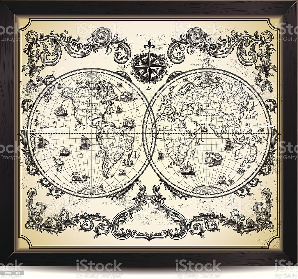 Vintage World Map vector art illustration