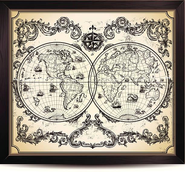 ビンテージワールド地図 - ビンテージの地図点のイラスト素材/クリップアート素材/マンガ素材/アイコン素材