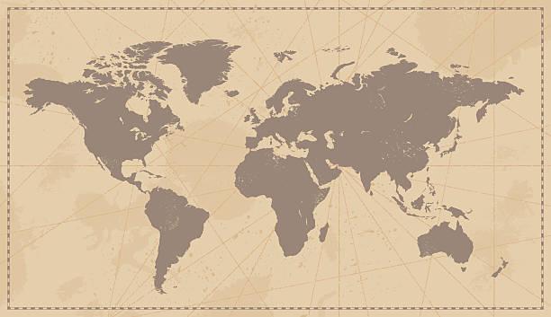 Vintage World Map vector art illustration