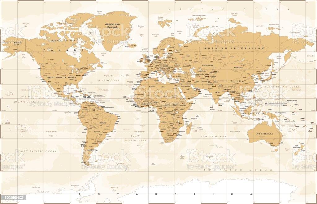 Vintage World Map Vector Illustration Stock Illustration Download Image Now Istock