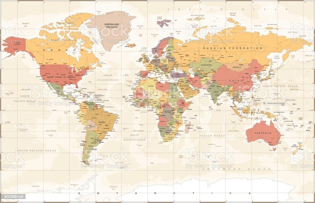 Vintage World Map - Vector Illustration vector art illustration