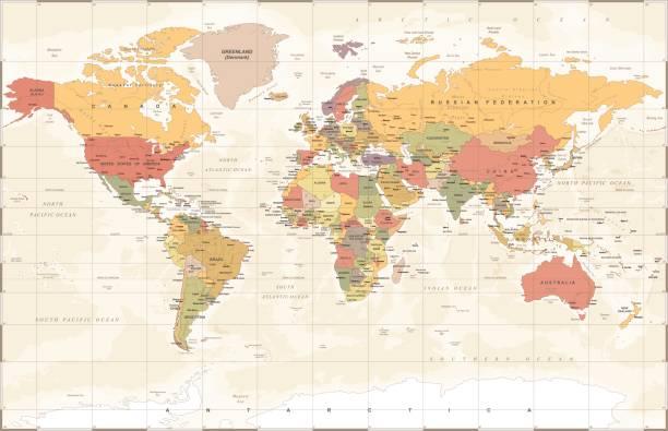 ヴィンテージの世界地図 - ベクトル図 - 中東の地図点のイラスト素材/クリップアート素材/マンガ素材/アイコン素材