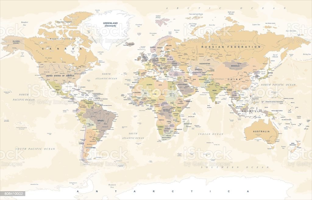 Vintage World Map - Vector Illustration
