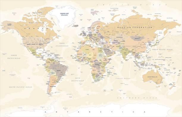 ヴィンテージの世界地図 - ベクトル図 - ビンテージの地図点のイラスト素材/クリップアート素材/マンガ素材/アイコン素材